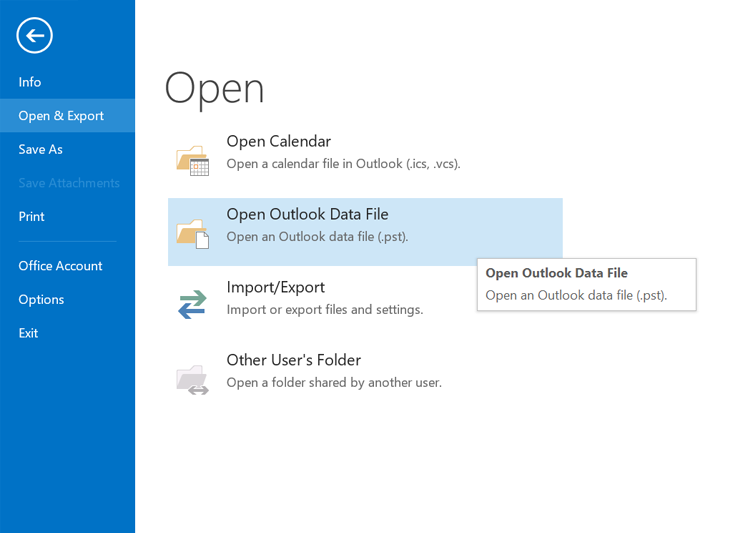 Open Outlook data files